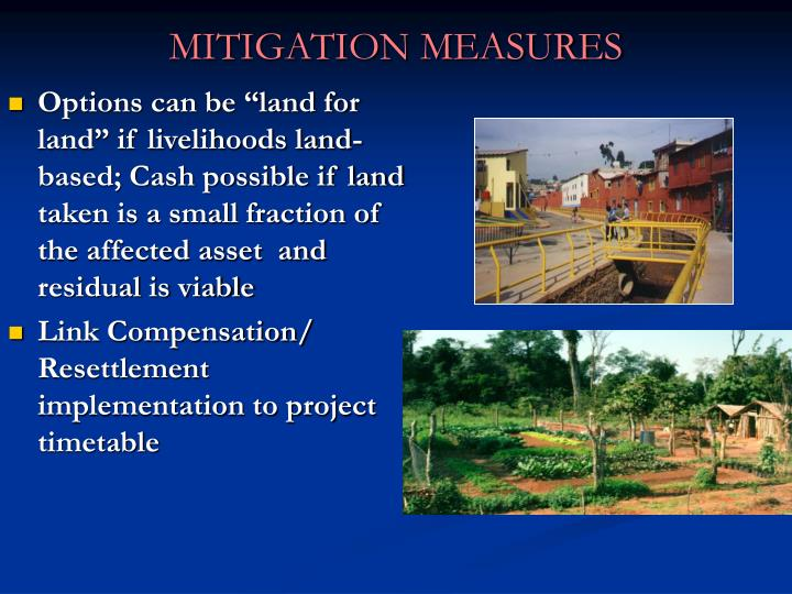 "Options can be ""land for land"" if livelihoods land-based; Cash possible if land taken is a small fraction of the affected asset  and residual is viable"