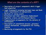 what are the contents of a rpf