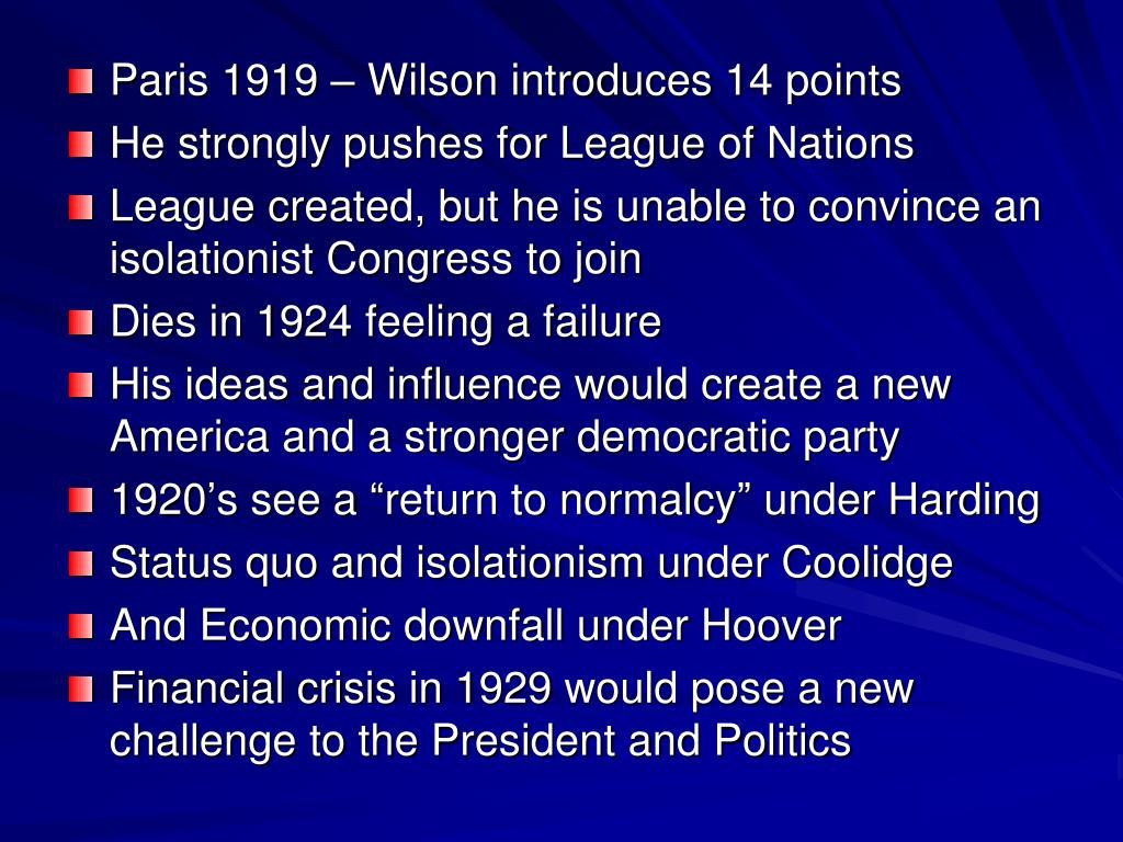 Paris 1919 – Wilson introduces 14 points