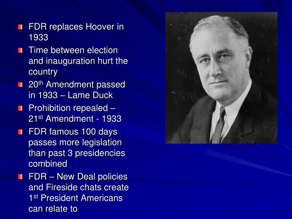 FDR replaces Hoover in 1933