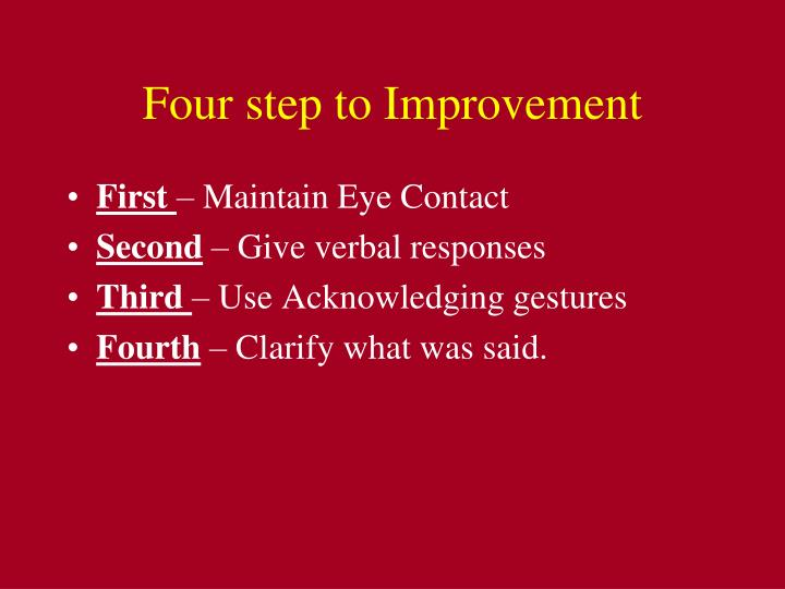 Four step to Improvement