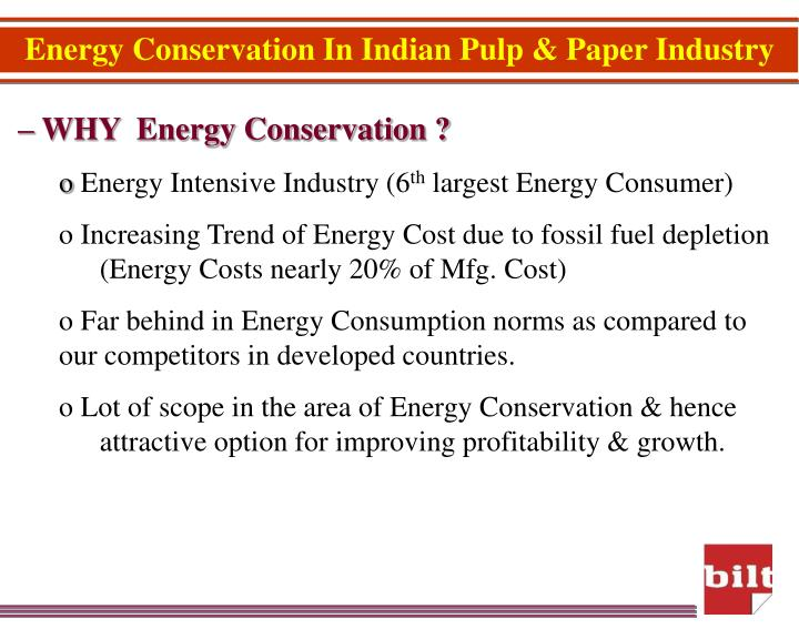 Energy Conservation In Indian Pulp & Paper Industry