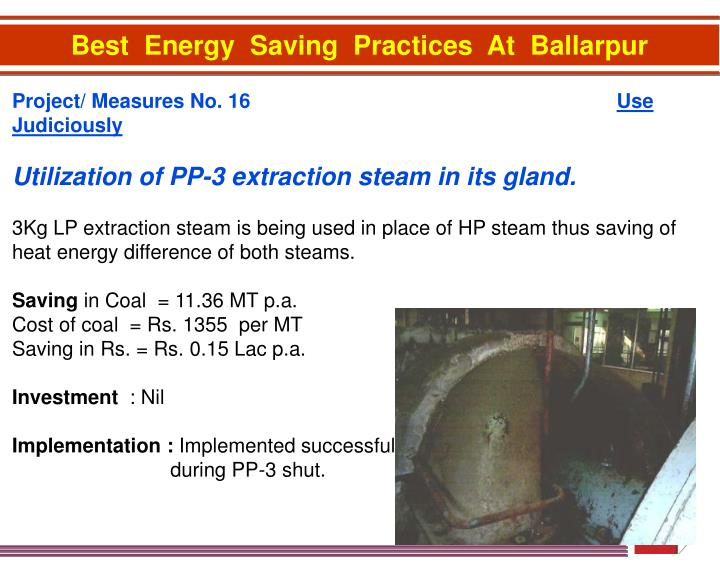 Best  Energy  Saving  Practices  At  Ballarpur