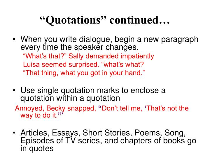 """Quotations"" continued…"