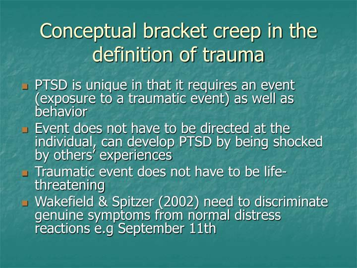 Conceptual bracket creep in the definition of trauma