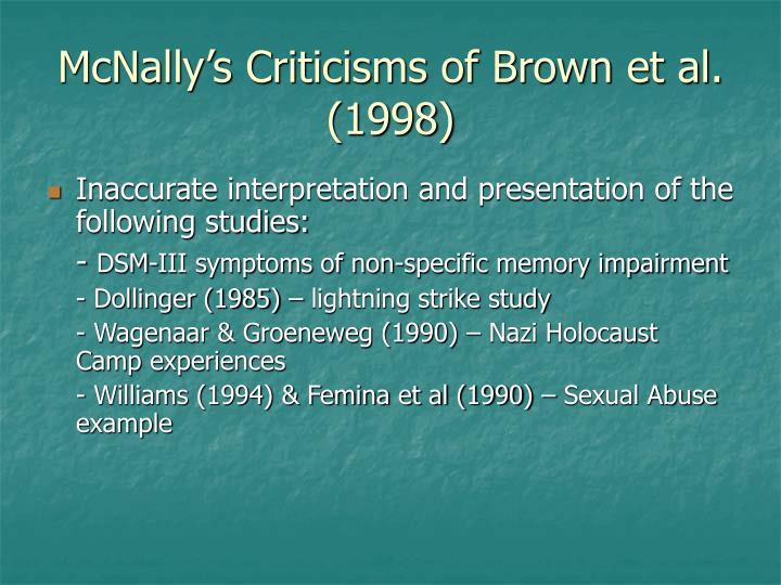 McNally's Criticisms of Brown et al. (1998)