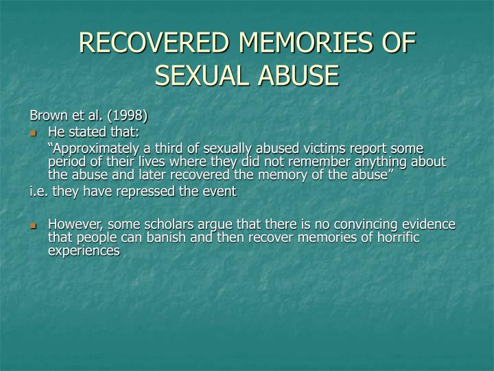 RECOVERED MEMORIES OF SEXUAL ABUSE