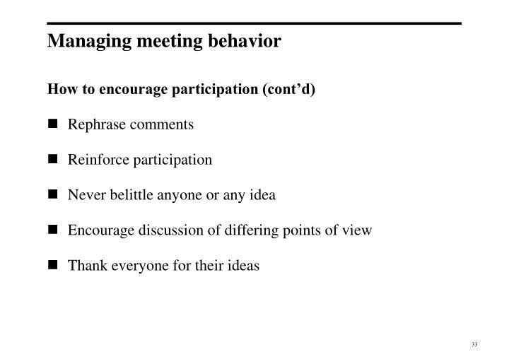 Managing meeting behavior