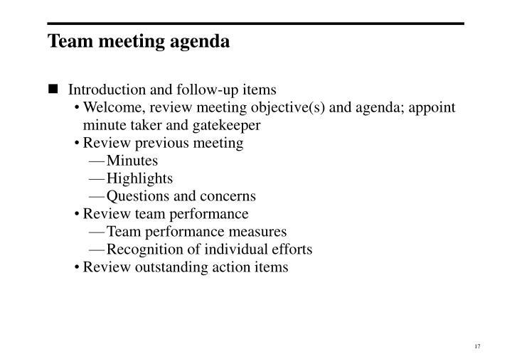 Team meeting agenda