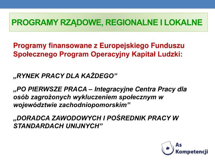 Programy rzdowe, regionalne i lokalne