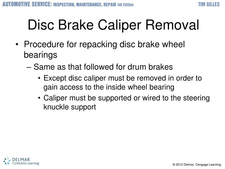 Disc Brake Caliper Removal