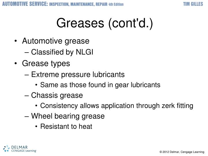 Greases (cont'd.)