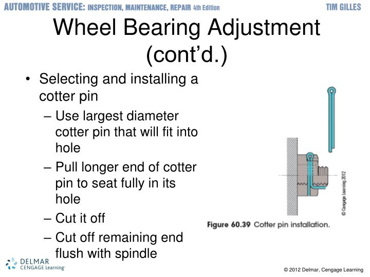 Wheel Bearing Adjustment (cont'd.)