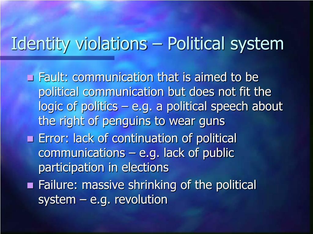 Identity violations – Political system
