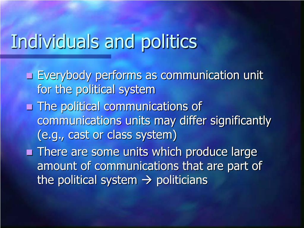 Individuals and politics