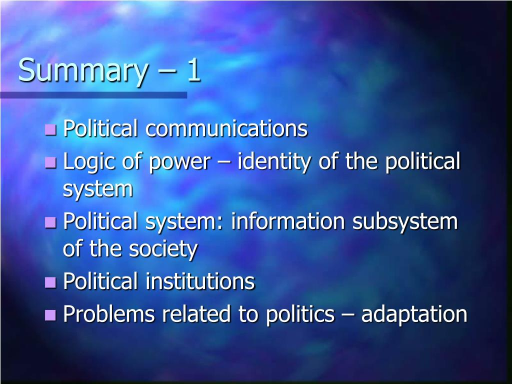 Summary – 1
