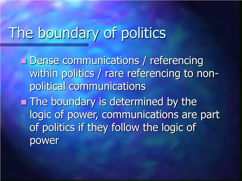 The boundary of politics