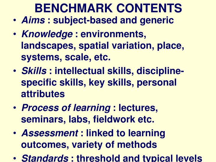 Benchmark contents