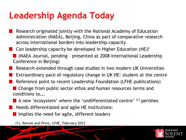 Leadership Agenda Today