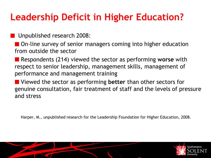 Leadership Deficit in Higher Education?