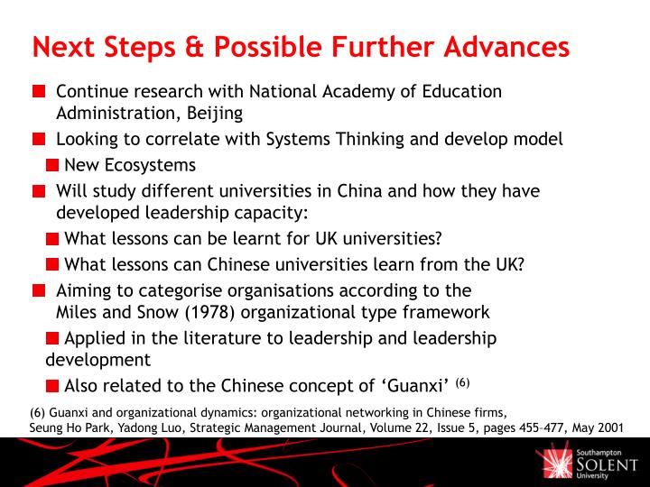 Next Steps & Possible Further Advances