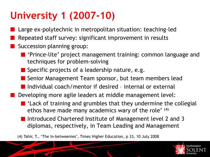University 1 (2007-10)