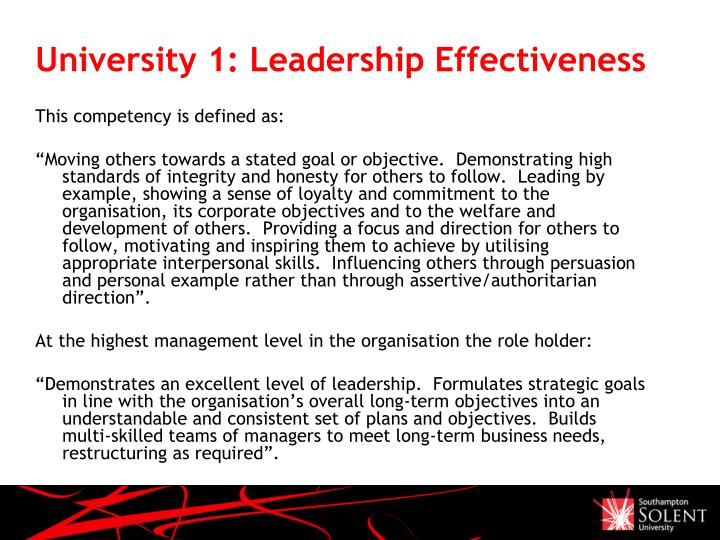 University 1: Leadership Effectiveness