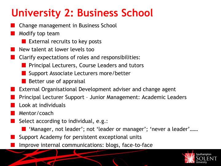 University 2: Business School
