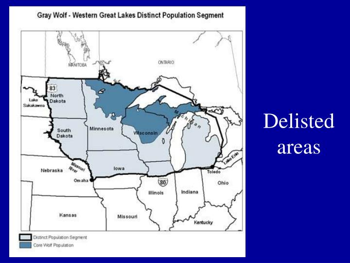 Delisted areas