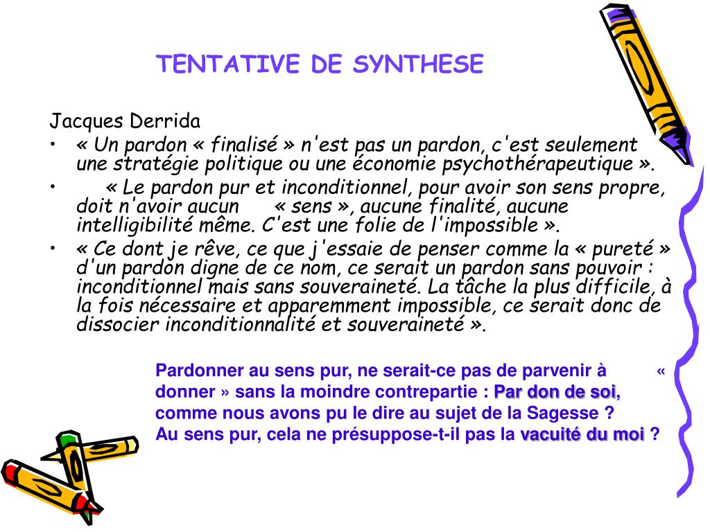 TENTATIVE DE SYNTHESE