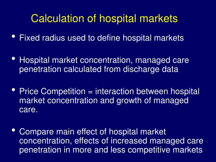 Calculation of hospital markets