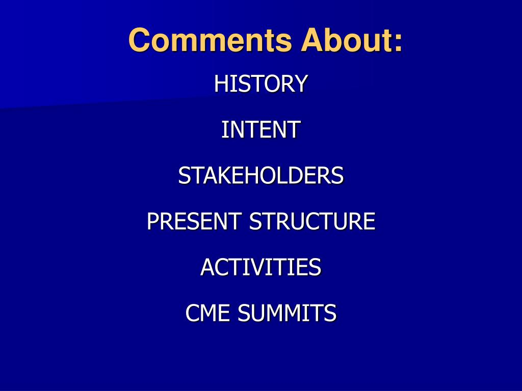 Comments About: