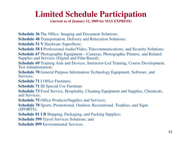 Limited Schedule Participation