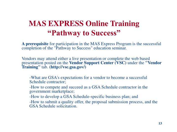 MAS EXPRESS Online Training