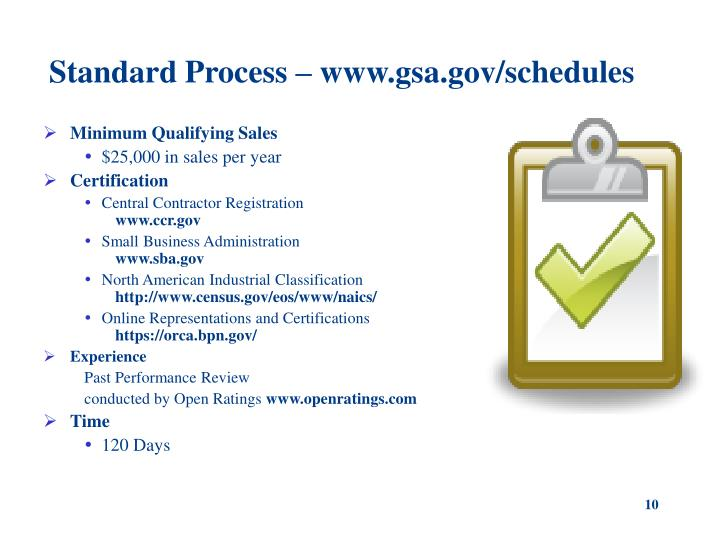 Standard Process – www.gsa.gov/schedules