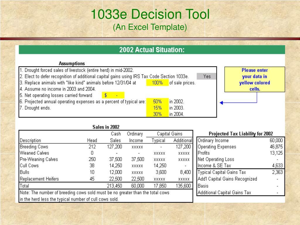 1033e Decision Tool