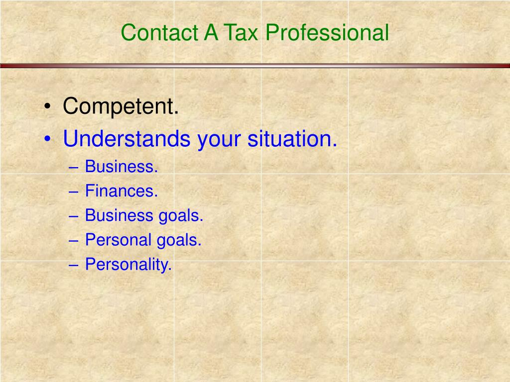 Contact A Tax Professional