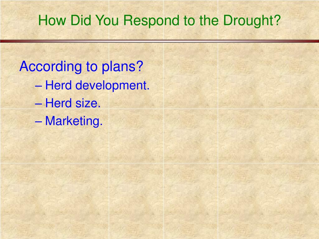 How Did You Respond to the Drought?