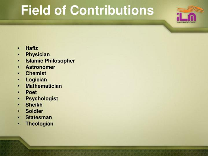 Field of Contributions