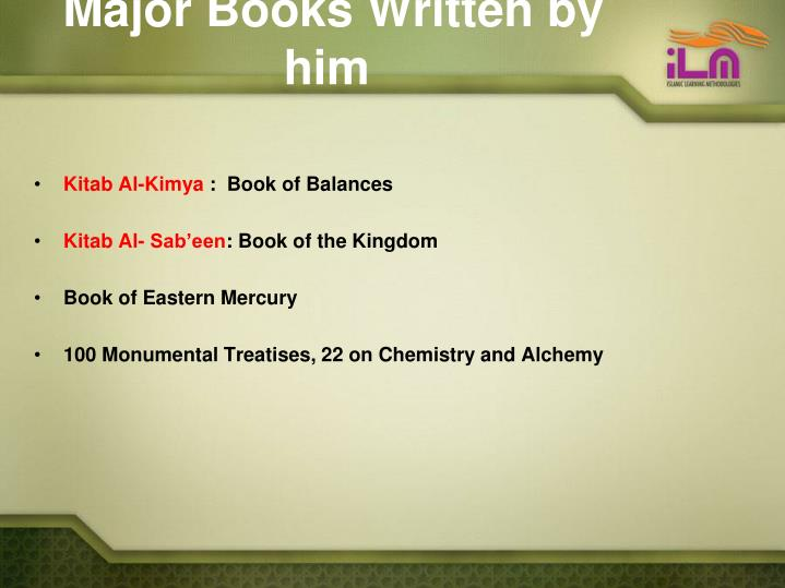Major Books Written by him
