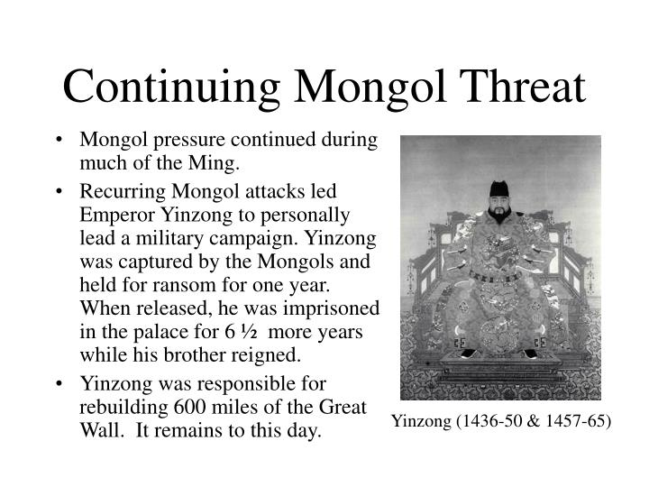 Continuing Mongol Threat