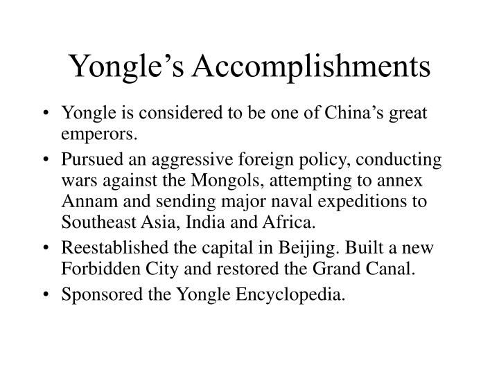 Yongle's Accomplishments