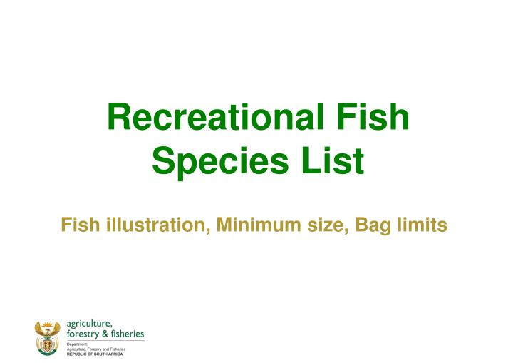 Recreational Fish Species List