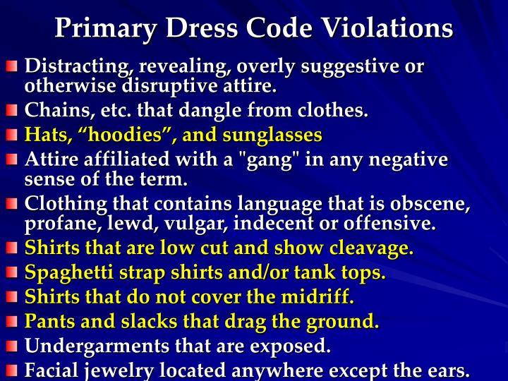 Primary Dress Code Violations