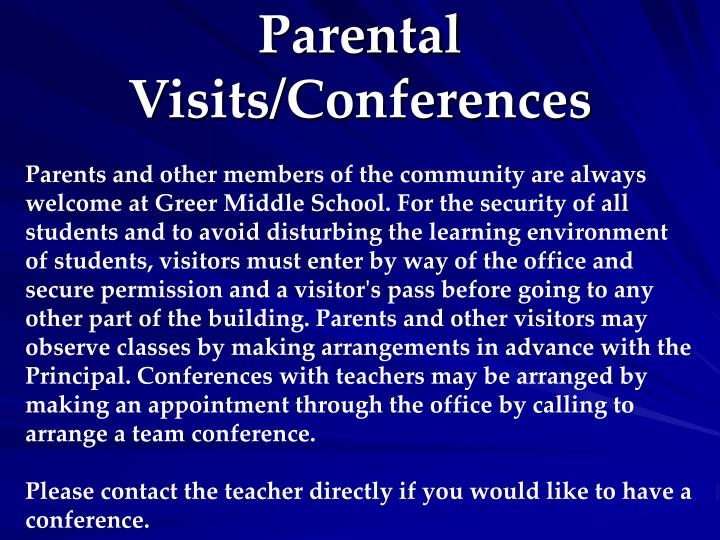 Parental Visits/Conferences