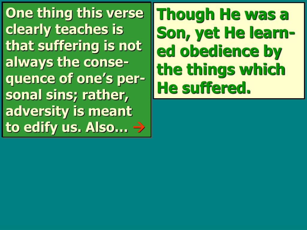 One thing this verse clearly teaches is that suffering is not always the conse-quence of one's per-sonal sins; rather, adversity is meant to edify us. Also…