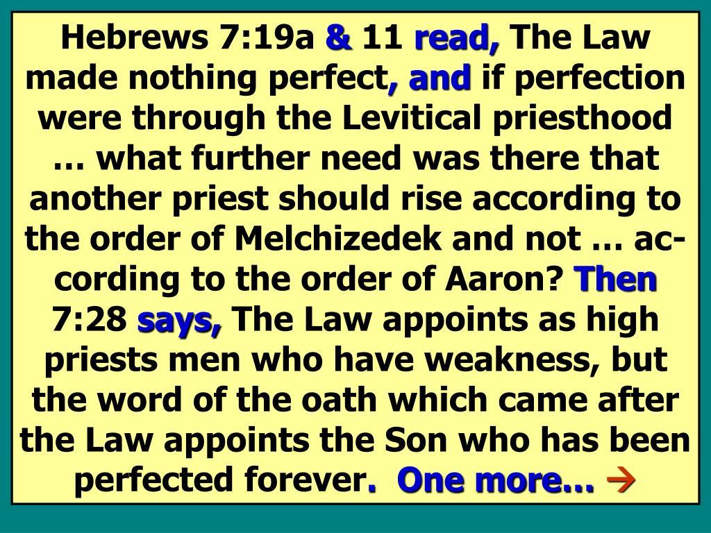 Hebrews 7:19a