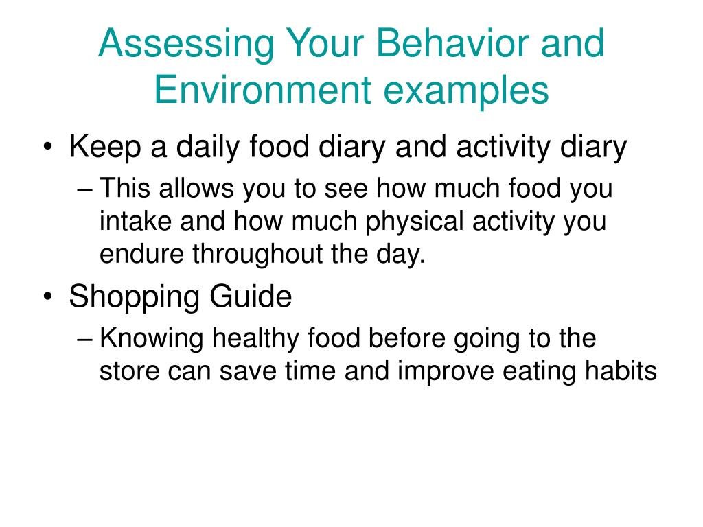 Assessing Your Behavior and Environment examples