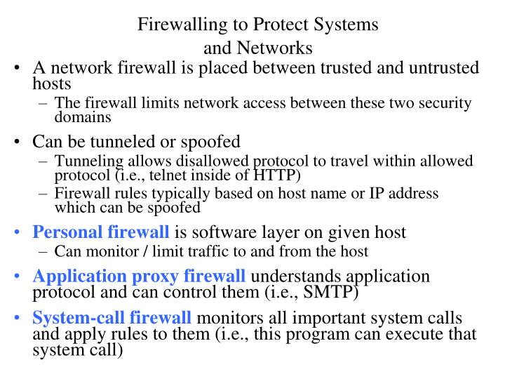 Firewalling to Protect Systems