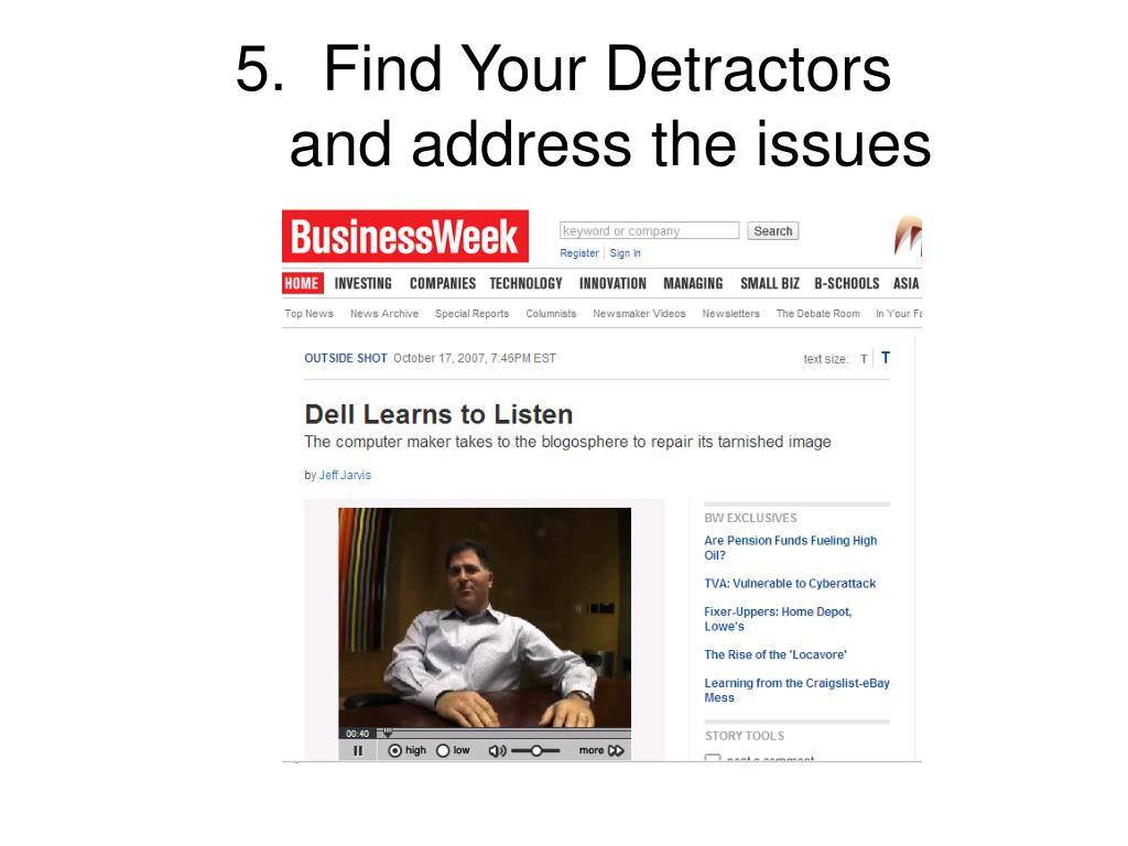 5.  Find Your Detractors